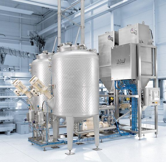 Process plant with Conti-TDS, agitators and powder feed